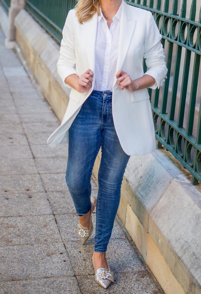 M&S white-blazer blue-denim-jean