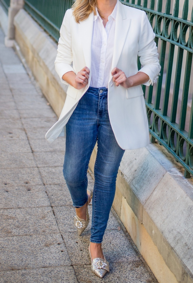 M&S white-blazer blue-denim-jean