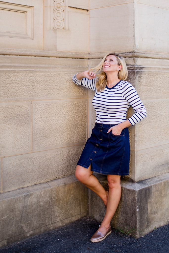 M&S striped-top button-front-denim-skirt