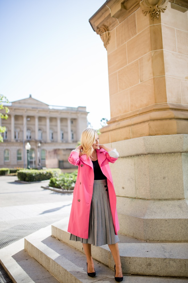 M&S pink-double-breasted-trench-coat and grey-pleated-midi-skirt