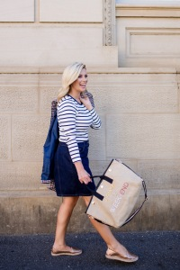 M&S striped-top button-front-denim-skirt checked-blazer tote-bag