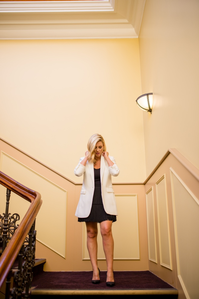 M&S white-blazer little-black-dress