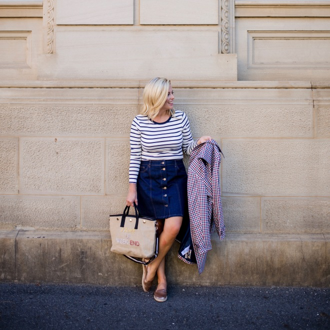 M&S striped-top button-front-denim-skirt checked-trench-coat
